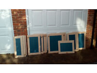 Kitchen unit doors, ash and blue, assorted sizes with hinges and knobs