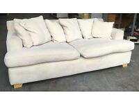 White fabric high quality sofa feather filled WE DELIVER UK