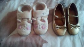 Girls gold party shoes and Next slippers size 10. Like new condition