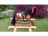 Rocking horse Walnut handmade suitable for 3+ years. gentle swing stand in Ash with Oak pillars