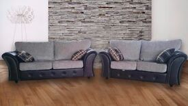 !30 DAYS MONEY BACK GUARANTEE! 3+2 SEATER LONDON STYLE SOFAS GREY/BLACK, BROWN/BLACK - FREE DELIVERY