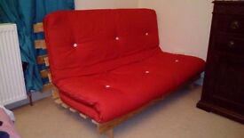 135cm Double Wooden Futon with Red Mattress