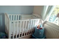 Mothercare Darlington Cot and Airflow Spring Cot Mattress
