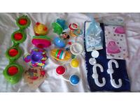 Baby & Child SAFETY Door & Cupboard Locks / Plugs + Bundle of 10 Pram & Bath Toys, 0-12 months