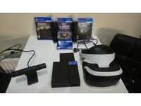 Playstation VR and camera and 3 games