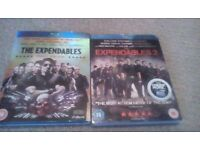 The Expendables 1 & 2 Blu Rays With Dust Covers