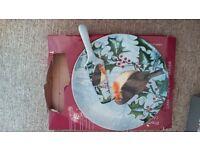 Christmas cake plate & cake knife
