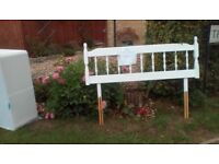Wooden double headboard. Painted white