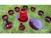 Joblot of red glass ornaments and dessert dishes