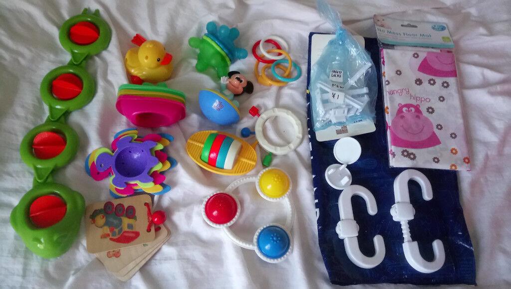 Baby & Child SAFETY Door handle Locks / Plugs + Bundle of 10 Pram & Bath Toys, 0-12 months
