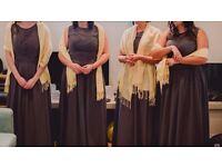 Four bridesmaids dresses, full length grey chiffon, sizes 10 and 12