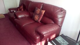 Leather recliner chair and two seater sofa imaculate condition looking for 450 recliner has remote