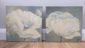 Lovely pair of canvas pictures & M&S Vase