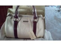 Leather handbag cream with brown trim