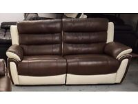 NEW SCS FIESTA BROWN & CREAM LEATHER 3 Seater Electric Recliner Sofa CAN DELIVER View/Collect Kirkby