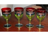 Gorgeous Hand Painted Glass Sherry glasses, set of 4, 10cm high x 5cm diameter, perfect!