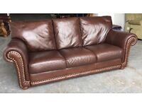 £1500 studded soft Brown leather 3 seat sofa WE DELIVER UK WIDE