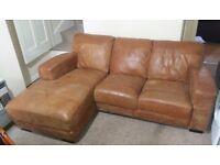 DFS CAESAR Corner Sofa Leather in Tan brand new ex-display Nottingham NG7