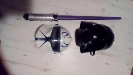 Star wars darth vader voice changer helmet , storm trooper helmet and retractable and light sabre