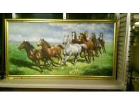 Wow! Class big oil painting of horses