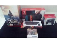 NINTENDO SWITCH NEON/ZEDLA/PRO CONTROLLER/CASE/AMIIBO BUNDLE -MINT CONDITION/AS NEW/BOXED/WARRANTY
