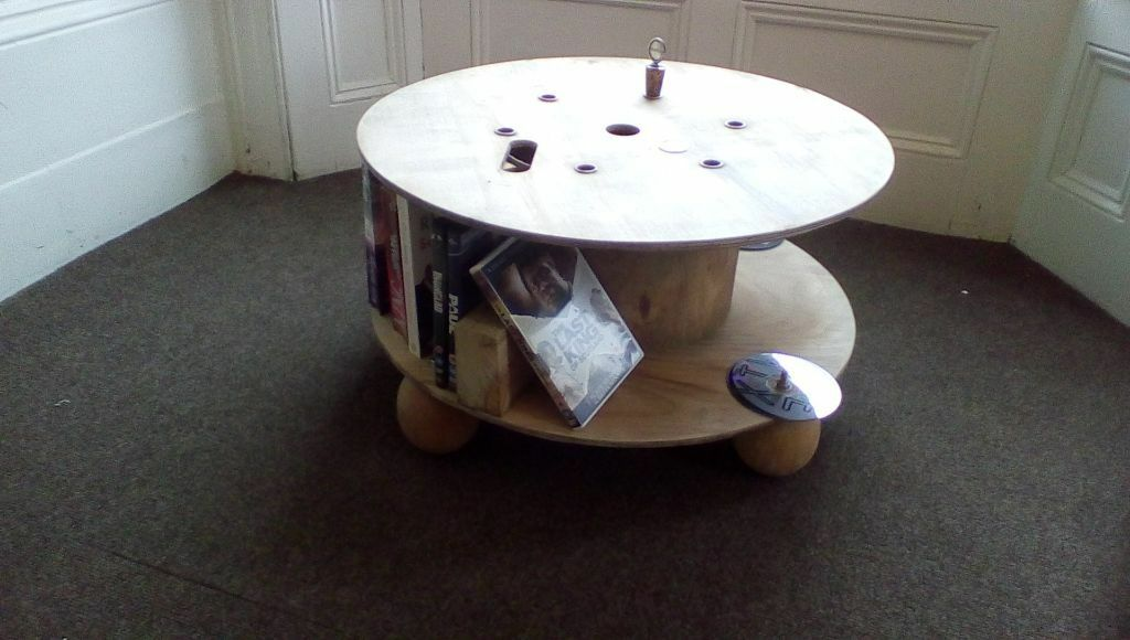 Funky coffee table/dvd storage.Upcycled cable drum. Great talking point. Something & Funky coffee table/dvd storage.Upcycled cable drum. Great talking ...