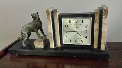 Tisch -Uhr-Art Deco - mit Hund -Frankreich- Cafe Beffroi