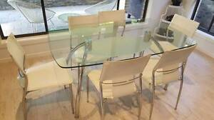 Modern Dinning Room Glass Top Table and 6 White Chairs Seaforth Manly Area Preview