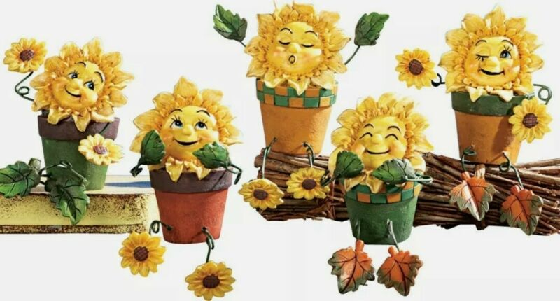 Collections Etc Collectible Sunflower Shelf Sitters - Set of 5