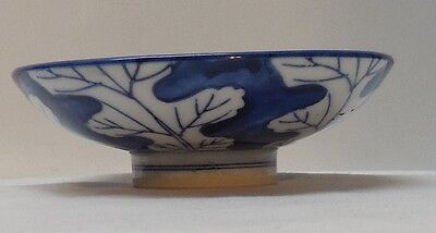 Blue and White Porcelain Footed Small Bowl Leaf Designs Vintage