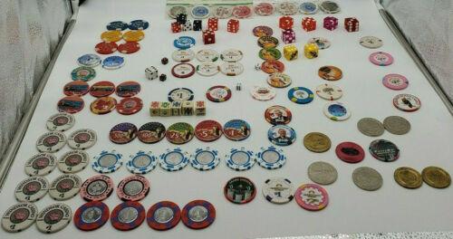 Large lot of Vintage Las Vegas Casino Gaming Poker Craps,Chips,Dice. Rare