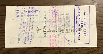 David Ben Gurion 1973 Endorsed Bank Check Signed - Israel Prime Minister
