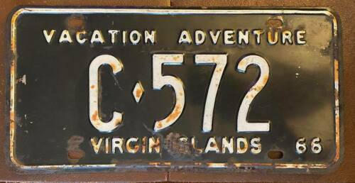 Virgin Islands 1966 ST CROIX VACATION ADVENTURE License Plate # C-572