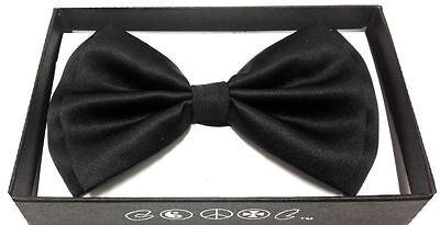 New Tuxedo PreTied Black Bow Tie Satin Adjustable  USA FAST SHIPPING - Pretied Bow Tie