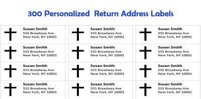 300 -custom Printed Large Return Address Labels 1 X 2-58 With Cross
