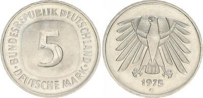 5 DM Kursmünze 1975 G Lichtenrader Prägung prägefrisch-stempelglanz