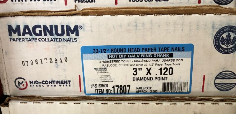 "Magnum Fasteners 17807 3"" x .120 Round Head HDG Ring Shank Nails (2500)"