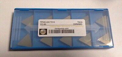 TPGN 433 T010 CC-60 GRADE ROMAY WHISKER CERAMIC INSERTS BRAND NEW PACK OF 10