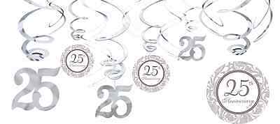 25th Silver Anniversary Value Pack Hanging Swirl Decorations Party Supplies 12ct (25th Anniversary Party Supplies)