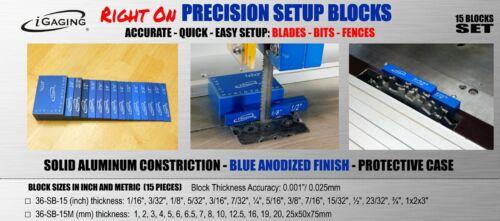 iGaging Setup Blocks Precision Gauge 15 piece Solid Aluminum Gauges with Case