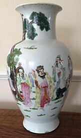 19th Century Chinese polychrome decorated porcelain baluster shaped vase