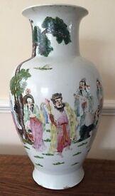 19th Century Chinese polychrome decorated porcelain baluster shaped vase