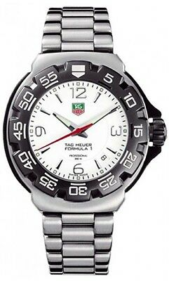 ORIGINAL TAG HEUER FORMULA 1 WAC1111.BA0850 MEN'S WHITE DIAL STEEL QUARTZ WATCH