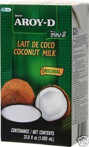 Aroy D Kokosmilch [12x1L], Kokosnussmilch, Coconut milk, Kokosnuss Milch AroyD