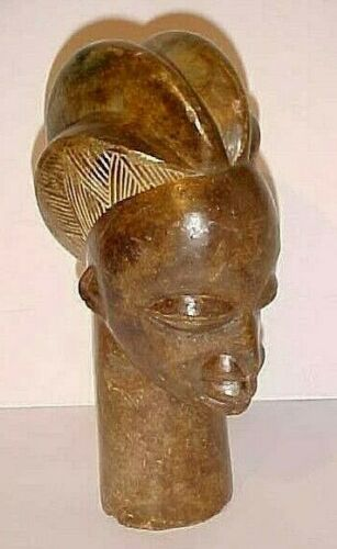 MID CENTURY AFRICAN STONE HEAD CARVING  SCULPTURE  ZIMBABWE - SIGNED  N GONDZA