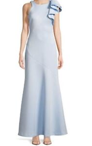 Gorgeous Scuba Ruffle Shoulder Gown - Sky Blue size 8