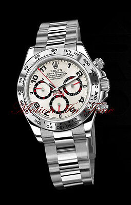 Rolex Cosmograph Daytona White Gold on Bracelet w/ Rare Silver & Red Dial 116509