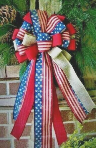 MEMORIAL DAY JULY 4th, PATRIOTIC, OLD GLORY BOW WIRED RIBBON / WREATH # 52