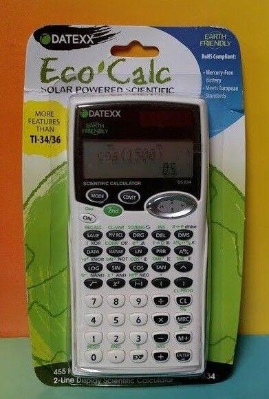 NEW Scientific Calculator DATEXX Eco Calc 455 Functions - More than TI-34/36