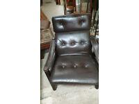 vintage retro Danish mid century leather armchair Ebbe Gejl 60s 70s